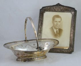Oval Plated Silver Classical Form Basket With Swing