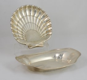"Wallace Sterling Silver Shell Bowl, 8"" Long, Along With"