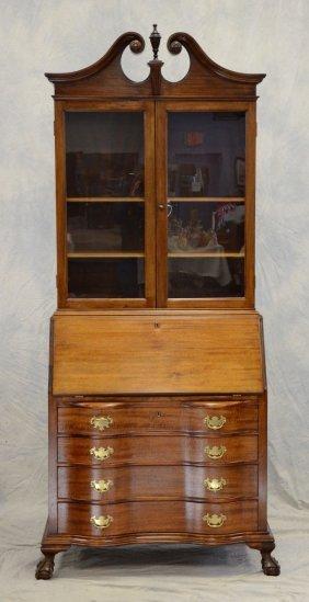 2 Pc Mahogany Chippendale Style Secretary Desk By