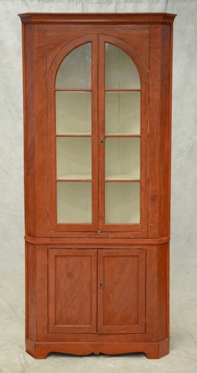 2 Piece Pine Corner Cupboard Top Section With 2 Arched