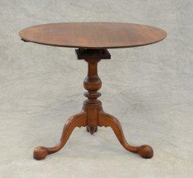 "Walnut Chippendale Style Tilt Top Tea Table, 27"" H, 33"""
