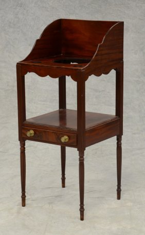 Mahogany Sheraton Open Wash Stand With High Dovetailed