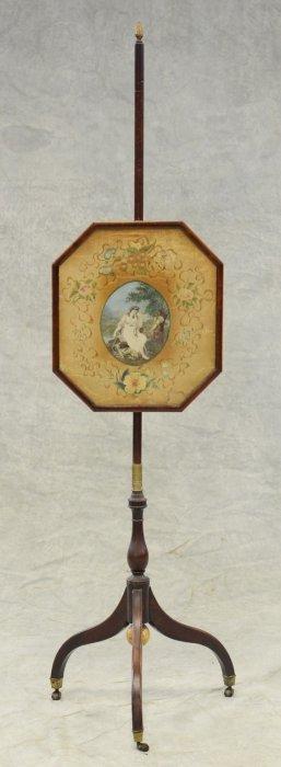 Mahogany Georgian Sheraton Pole Screen, Octagonal Panel