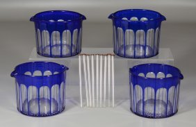 """Four English Cobalt Cut To Clear Wine Rinsers, 3 5/8"""" H"""