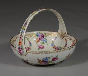 Dresden Germany Porcelain Basket With Floral