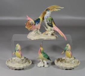 (4) Karl Ens German Porcelain Bird Figurines, Including