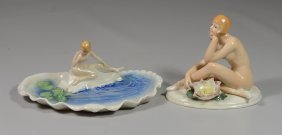 (2) Karl Ens German Porcelain Nude Nymph Figurines,