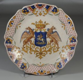 Continental Armorial Faience Enameled Plate Marked To