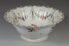 Continental Dresden Style Centerpiece Bowl With Floral