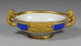 Kpm Cobalt Blue And Gilt Bowl, Caryatid Handles,