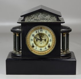 Ansonia Black Slate, Brass Tone Mantle Clock With