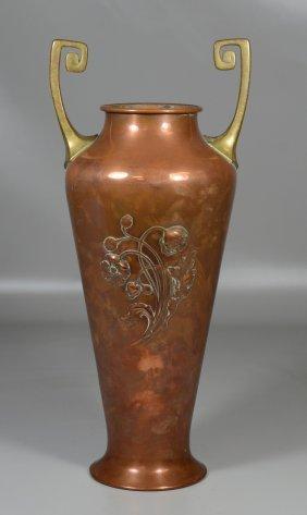 Wmf Art Nouveau Brass And Copper Vase With Repousse