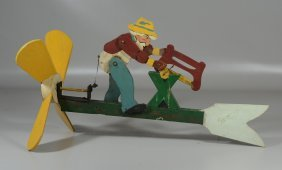 """American Folk Art Whirligig With Woodcutter, 23"""" Wide,"""