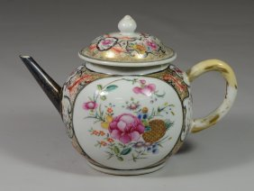 Chinese Export Famille Rose Decorated Teapot With Old
