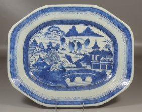 "Chinese Export Canton Blue And White Platter, 17"" X"