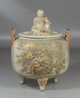 Japanese Satsuma Covered Potpourri Jar, Each Side With