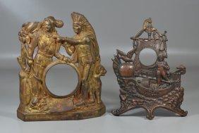 2 Cast Iron Figural Advertising Clock Frames: Jalaneer
