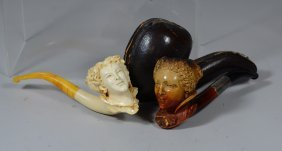 Group Of 2 Figural Carved Lady's Head Meerschaum Pipes,