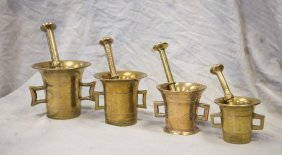 (4) Graduated Mortars And Pestles, Tallest Mortar Is 5