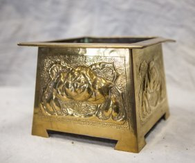 Continental Art Deco Hammered Brass Planter Or