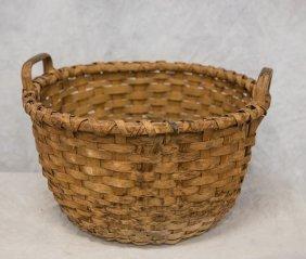 "Round Woven Splint Basket, Double Open Handles, 11"" X"