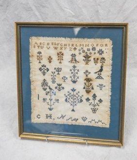 Needlework Alphabet Sampler, Rows Of Flower & Bird