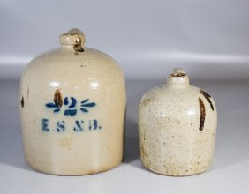"""(2) Stoneware Jugs, Larger One With Stenciled """"2 / Es &"""
