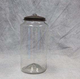 "Glass Apothecary Jar With Tin Lid, 14"" H"