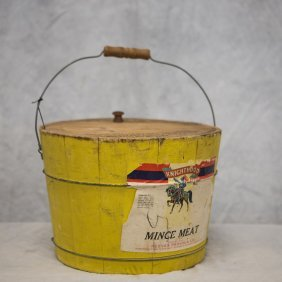 Yellow Painted Mince Meat Bucket, Paper Label