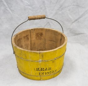 Yellow Painted Vinegar Bucket, Wire & Wood Swing