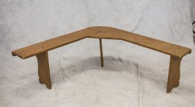 """Painted Wood Rare And Unique Corner Bench, 19"""" X 51"""" X"""