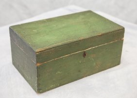 Green Painted Dovetailed Box With Tray, Wallpaper
