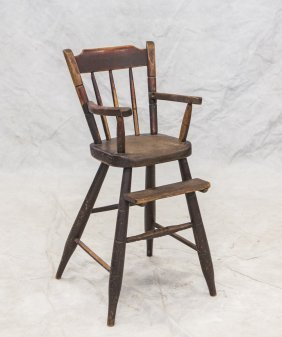 "Black Painted Windsor High Chair, 19th C, 34"" H"