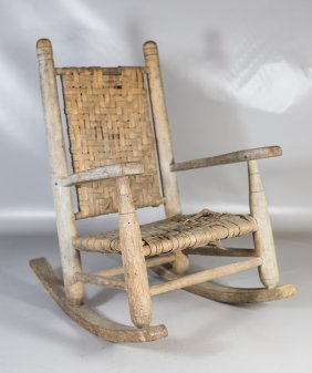"""Childs Rocker With Woven Splint Back And Seat, 24"""" H,"""