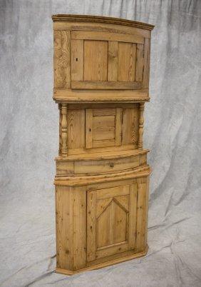 Scandinavian 3-part Scrubbed Pine Corner Cabinet, Each
