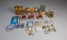 (7) Pieces Of Dollhouse Furniture With A Large Lot Of