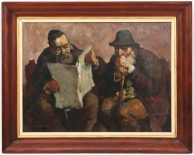 Ed Adler (1917-1984), Oil On Canvas. Picture Of Jews.