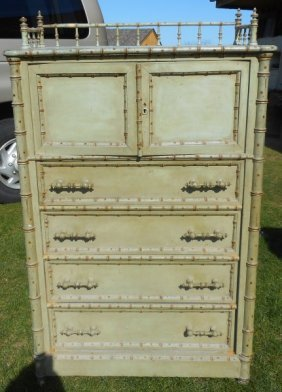 Victorian Lockside Faux Bamboo Chest With Hat Box