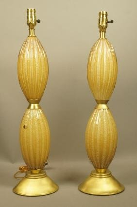 Pr Murano Art Glass Table Lamps. Two Gold Ovoid F