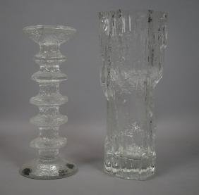 2 Pc TAPIO WIRKKALA Finnish Art Glass Vase TIMO S