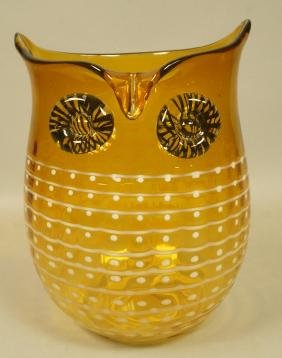 Modernist Amber Glass Figural Owl Vase. Applied E