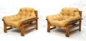 Pr Modernist Oak Lounge Chairs Tan Leather Tufted
