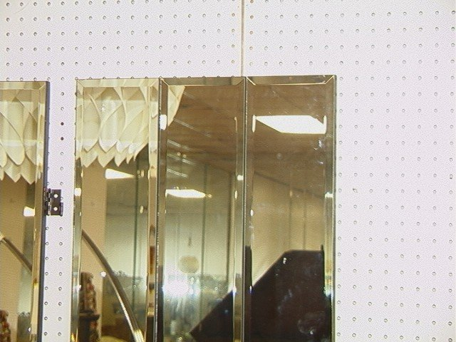 355 Decorator Mirrored Room Divider Folding Screen Lot 355