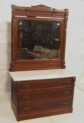 Antique Victorian Walnut Dresser With Marble Top