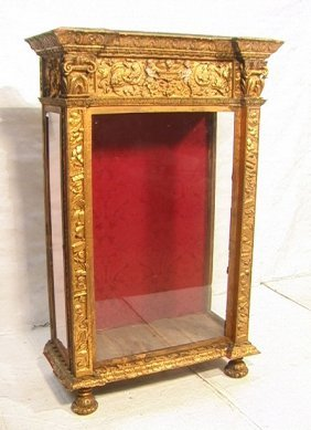 Antique Gilt Wood And Gesso Cabinet Display.  Gla