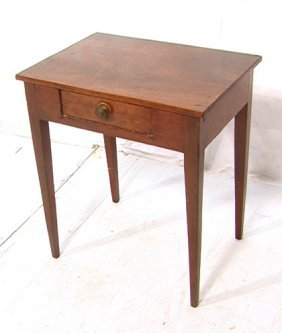 Antique Country One Drawer Stand.  Angled Legs.