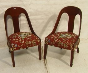 Pair Klismos Style Lounge Chairs.  Spoon Backs.