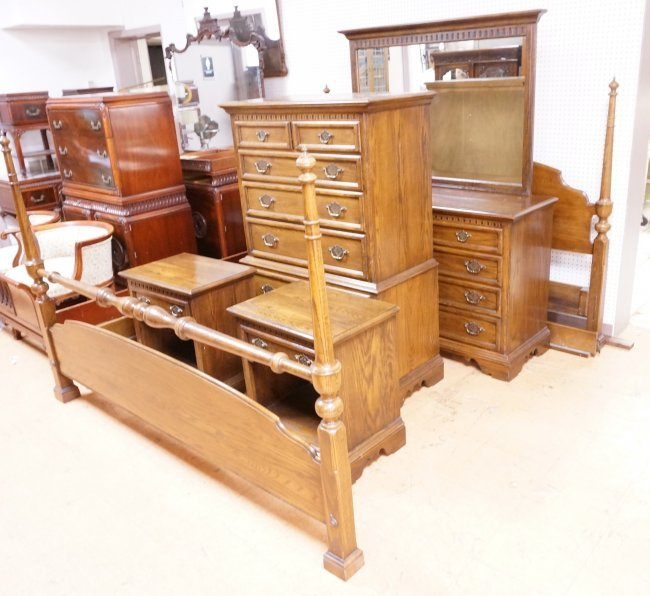 7pc Ethan Allen Oak Bedroom Set Tall Amp Low Chest Lot 139