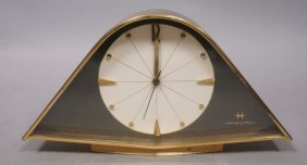 Modernist Brass Hamilton Desk Clock. Bowed Form.
