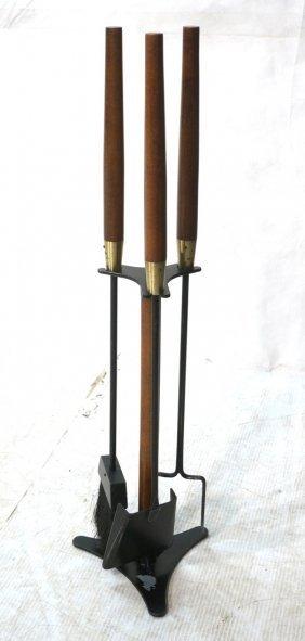 Seymou 4pc Wood Brass & Iron Fireplace Tools. Modernist